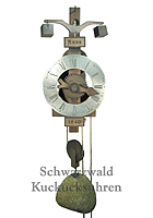 Wooden Clock / One-Handed Clock: 1640 Replica Model, Pewter Dial 14.2 inch