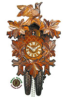 8-Day Carving Cuckoo Clock Bird / 5 Leaves 13.4 inch