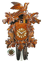 8-Day Carving Cuckoo Clock 3 Birds 7 Leaves 15.7 inch