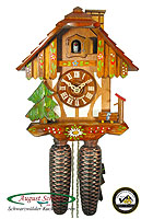 8-Day Cuckoo Clock Timberframe Chalet, Chimney Sweep, 9.5 inch
