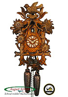 8-Day Carving Cuckoo Clock: Edelweiss & Bird, 14.1 inch