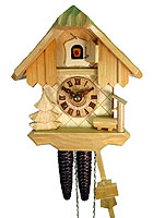 1-Day Cuckoo Clock Chalet, wood finish, 8.7 in
