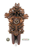8-Day Carving Cuckoo Clock Rococo Style, 14,2inch