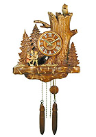 Wall Clock Old Oak Line Children & Owl 13.4inch